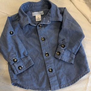 Blue button up baby shirt 3-6 months